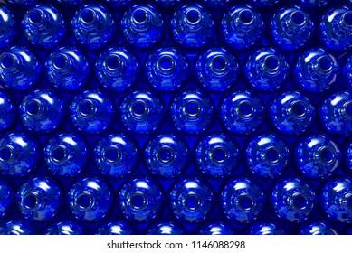 Lot of blue glass bottles