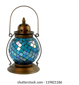 Blue Glass and Bronze Lantern for burning Candles