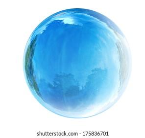blue glass bubble