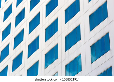 Blue glass of building.