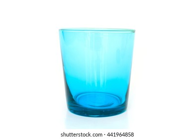 blue glass empty on white background