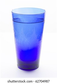 Blue glass filled with cold water