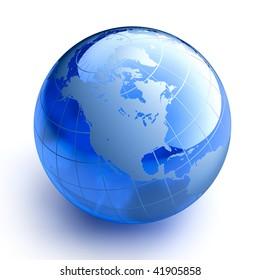 Blue glass globe on white background