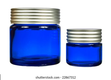 Blue glass jars, front view isolated on white background