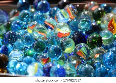 Blue Glass Marbles- Clear Crystal Spheres