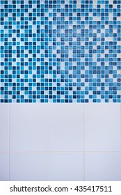 Blue glass mosaic in the bathroom