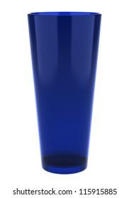 blue glass vase isolated on white background