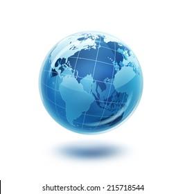 blue glass world on white background
