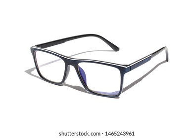 Blue glasses on a white background with shadow