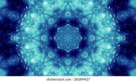 Blue Glassy Abstract Kaleida Style Background Illustration