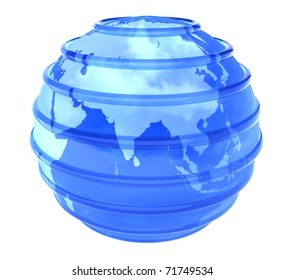 Blue glassy transparent planet Earth with lines parallel. 3D object focused in Asia on white background.