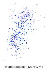 blue glitter isolated on white background