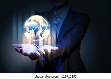Blue global technology background with the planet Earth