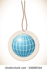 Blue globe, Label with cord