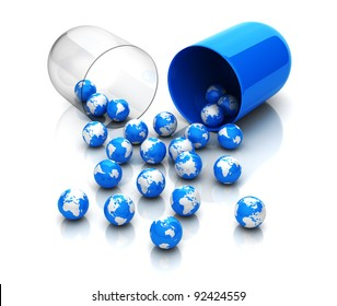 Blue globes from drug capsule
