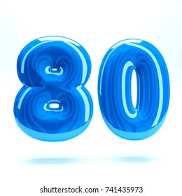 Blue glossy celebrate letter eighty 80 bold and uppercase. 3D render font painted with blue  polish and light reflection isolated on white background with clear shadow