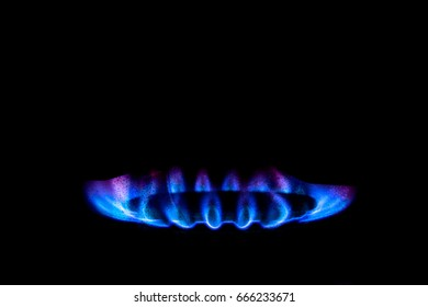 Blue glow of a gas flame with elements of water. On a dark background. Illustration