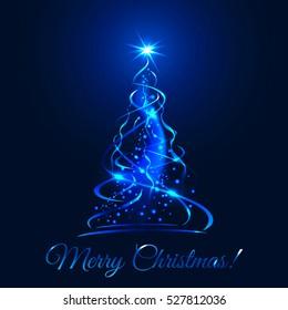 Blue glow xmas tree, elegant abstract christmas fir illustration