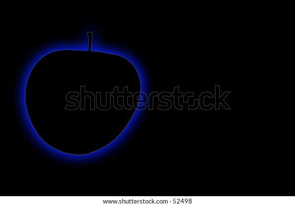 Blue glowing apple on a black background