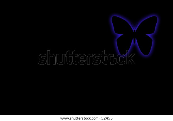 A blue glowing butterfly on a dark background