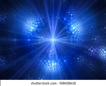 Blue glowing light source in space, computer generated abstract background, 3D render