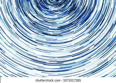 Blue glowing lines. Abstract rotating circular shape pattern background.