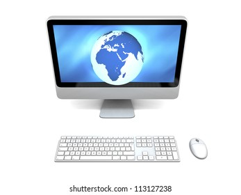 Blue glowing model of Earth on computer screen isolated on white background, concept of global network. Elements of this image furnished by NASA