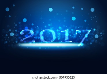 Blue glowing neon light on New Year 2017 concept with gradient blue background