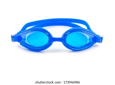 blue goggles for swim on white background