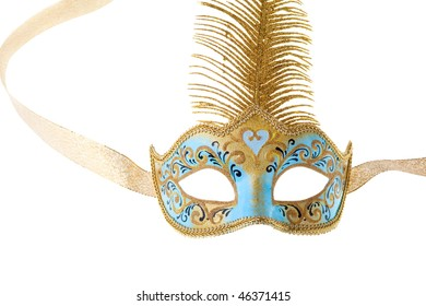 blue and gold carnival mask isolated on a white background
