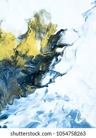 Blue with gold marble abstract hand painted background, close-up of acrylic painting on canvas. Contemporary art.