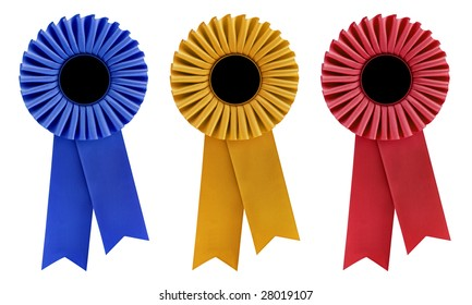 Blue, gold and red rosettes, with copy space, isolated on white.