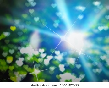blue golden heaven light with hearts sign hope and love concept abstract blurred background from nature