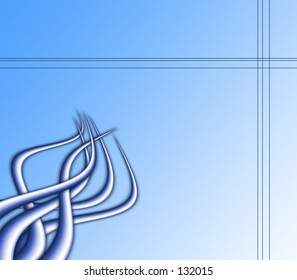 A blue gradient background with metal style spikes.