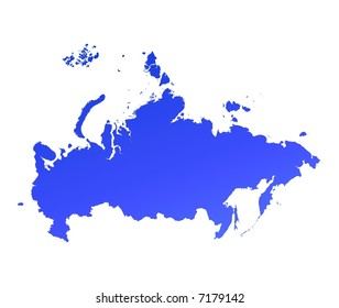 Blue gradient Russia map. Detailed, Mercator projection.