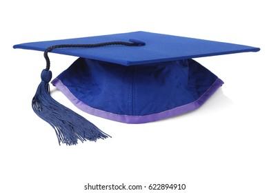 Blue Graduation Mortar Board on White Background