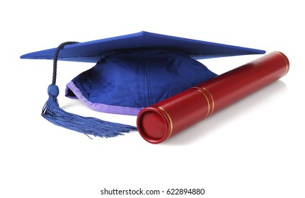 Blue Graduation Mortar Board and Scroll Holder on White Background