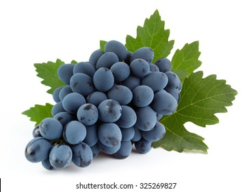 Blue grape fruit with leaf isolated on white