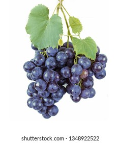 blue grapes with leaves isolated on white background
