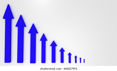 Blue graphic arrow pointing up on white background. Financial chart. From high to low. 3D illustration