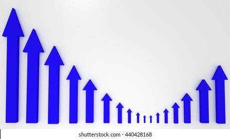 Blue graphic arrows pointing up on white background. Financial chart. 3D illustration