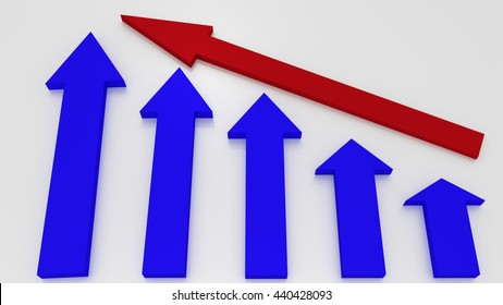 Blue graphic arrows pointing up and a red arrow shows growth on white background. Financial chart. From high to low. 3D illustration