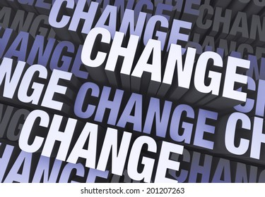 """A blue gray background filled with the word """"CHANGE"""" repeated many times a different depths."""