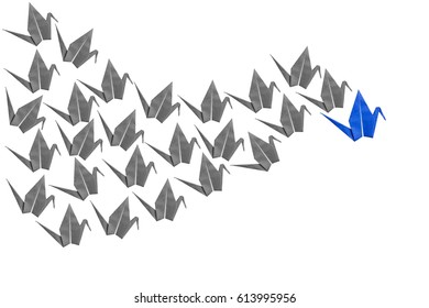 Blue and gray flat origami crane bird isolated on white background