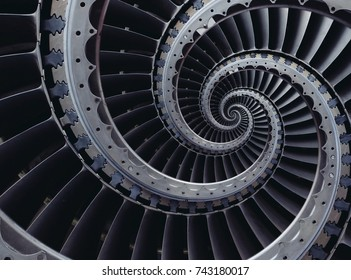 Blue gray industrial air craft turbine blades spiral background pattern distorted by three coils. Metal turbine wings repetitive back drop. Futuristic technology background