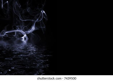 Blue gray smoke on water with reflection and copy space