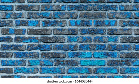 Blue gray turquoise abstract painted rustic brick wall texture background