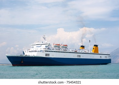 Blue Greek ferry boat at the sea