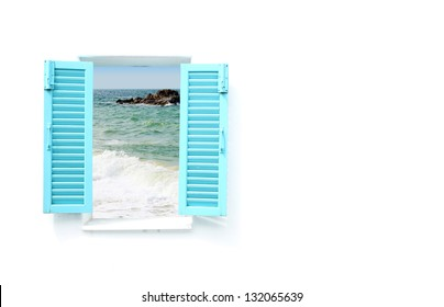 blue Greek style window with sea view