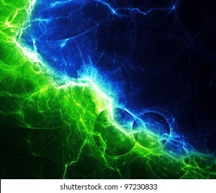 Blue and green abstract lightning